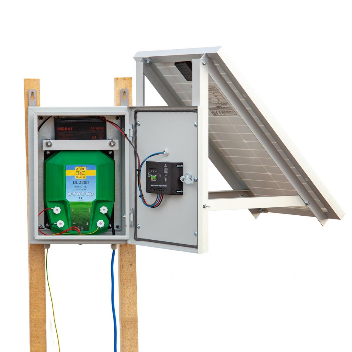 Aparat gard electric compact DL3200 cu sistem solar 30W și acumulator 12V