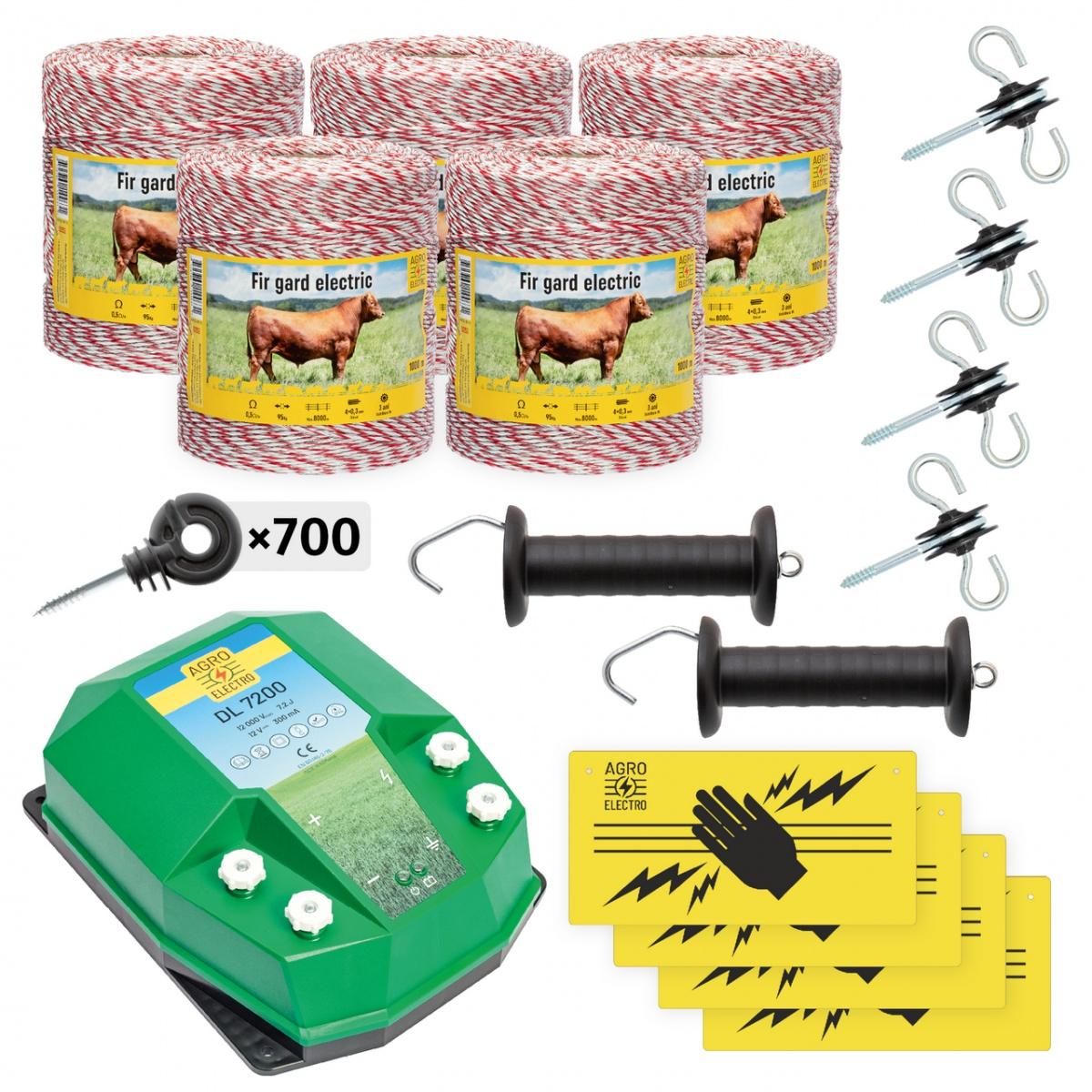 Pachet de bază gard electric 5000 m, 7,2Joule, pentru animale domestice