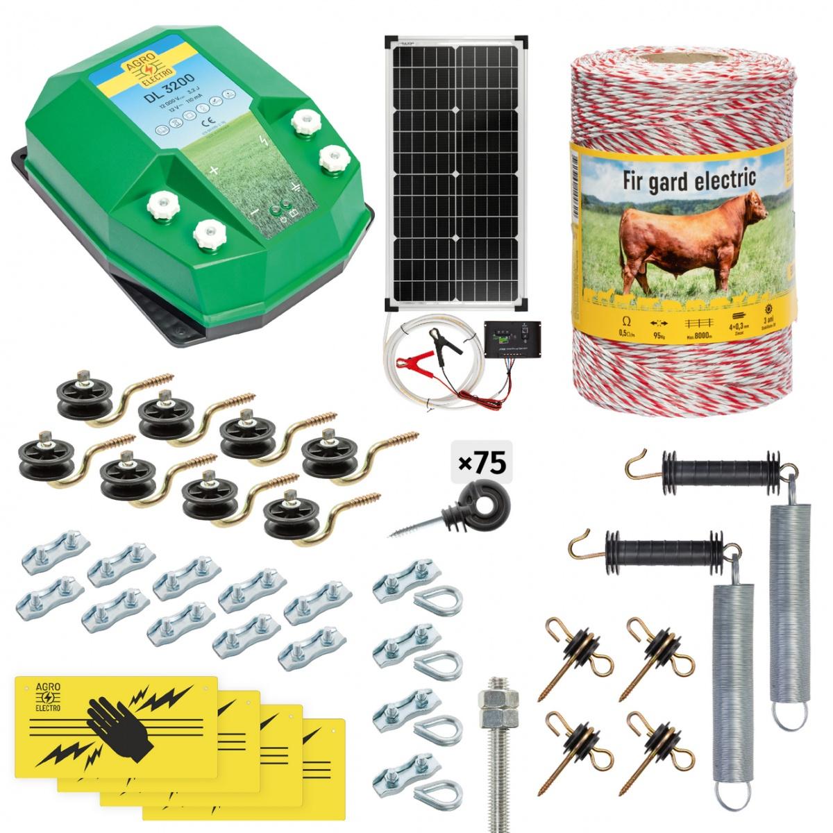 Pachet gard electric complet 500m, 3,2Joule, cu sistem solar, pentru animale domestice