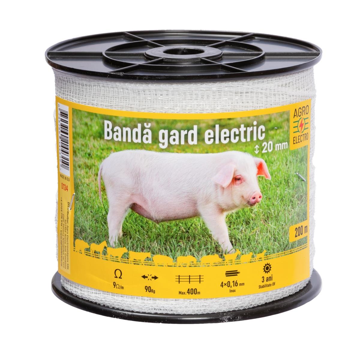 Bandă gard electric - 20mm - 200m - 90kg - 9Ω/m