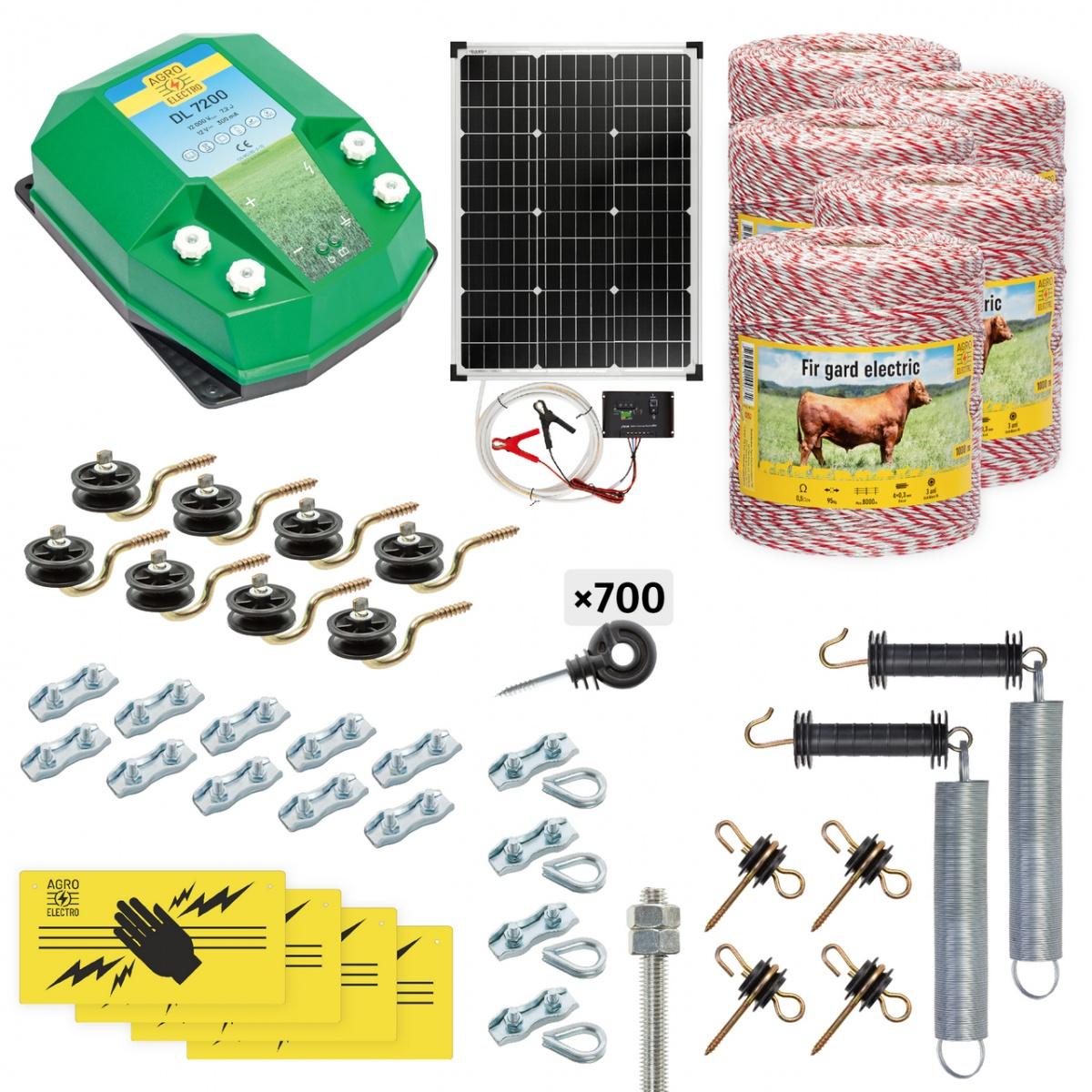 Pachet gard electric complet 5000m, 7,2Joule, cu sistem solar, pentru animale domestice