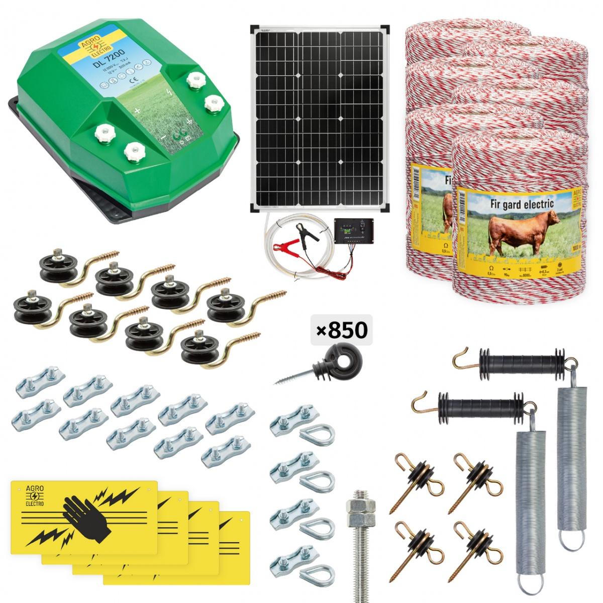 Pachet gard electric complet 6000m, 7,2Joule, cu sistem solar, pentru animale domestice