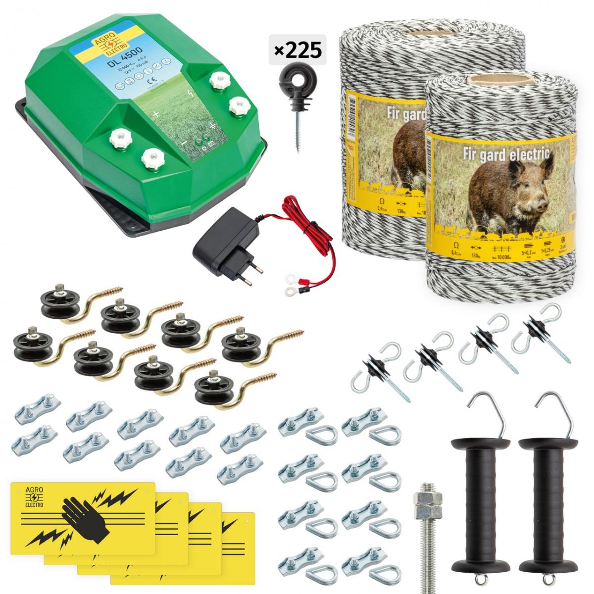 Pachet gard electric complet 1500m, 4,5Joule, 230V, pentru animale sălbatice
