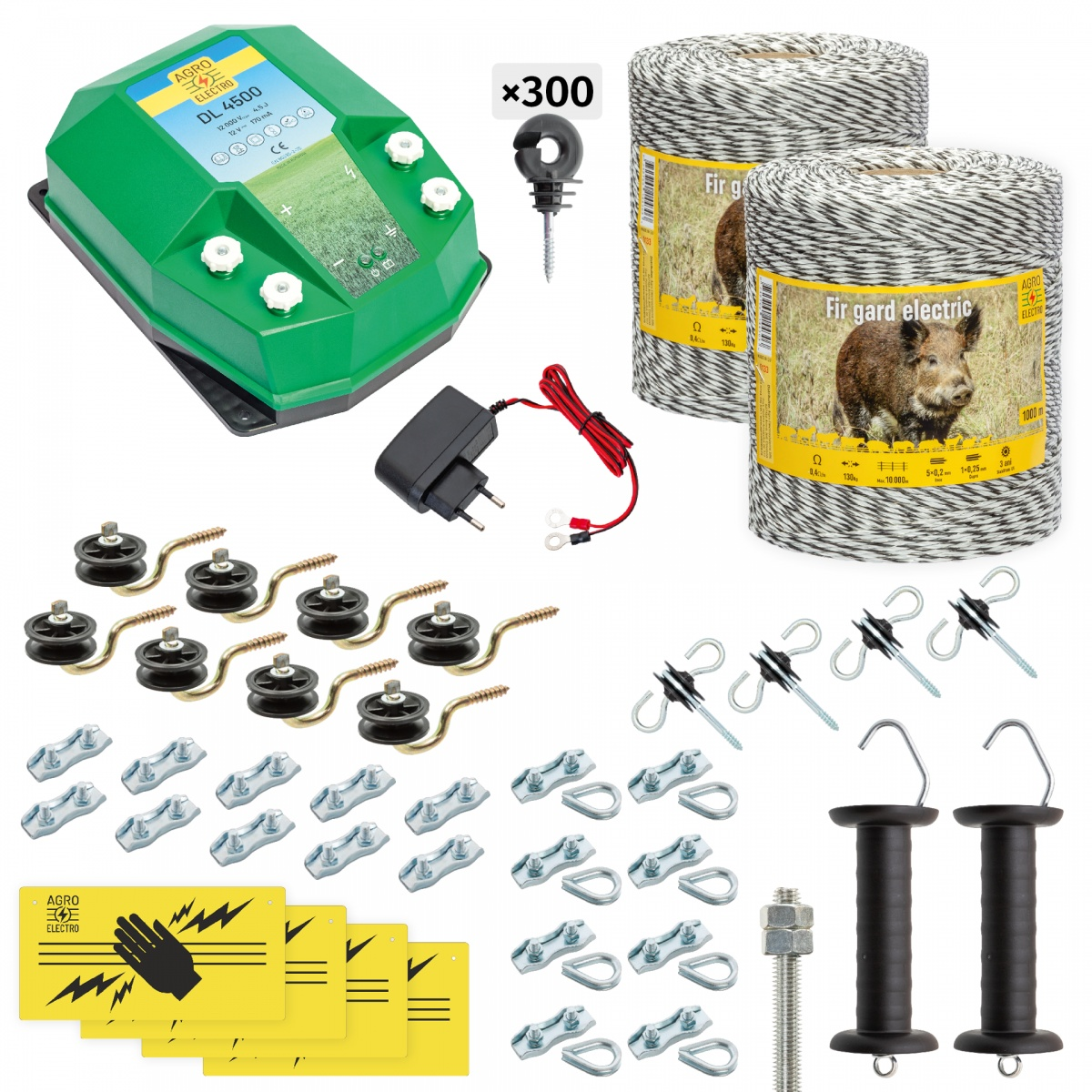 Pachet gard electric complet 2000m, 4,5Joule, 230V, pentru animale sălbatice