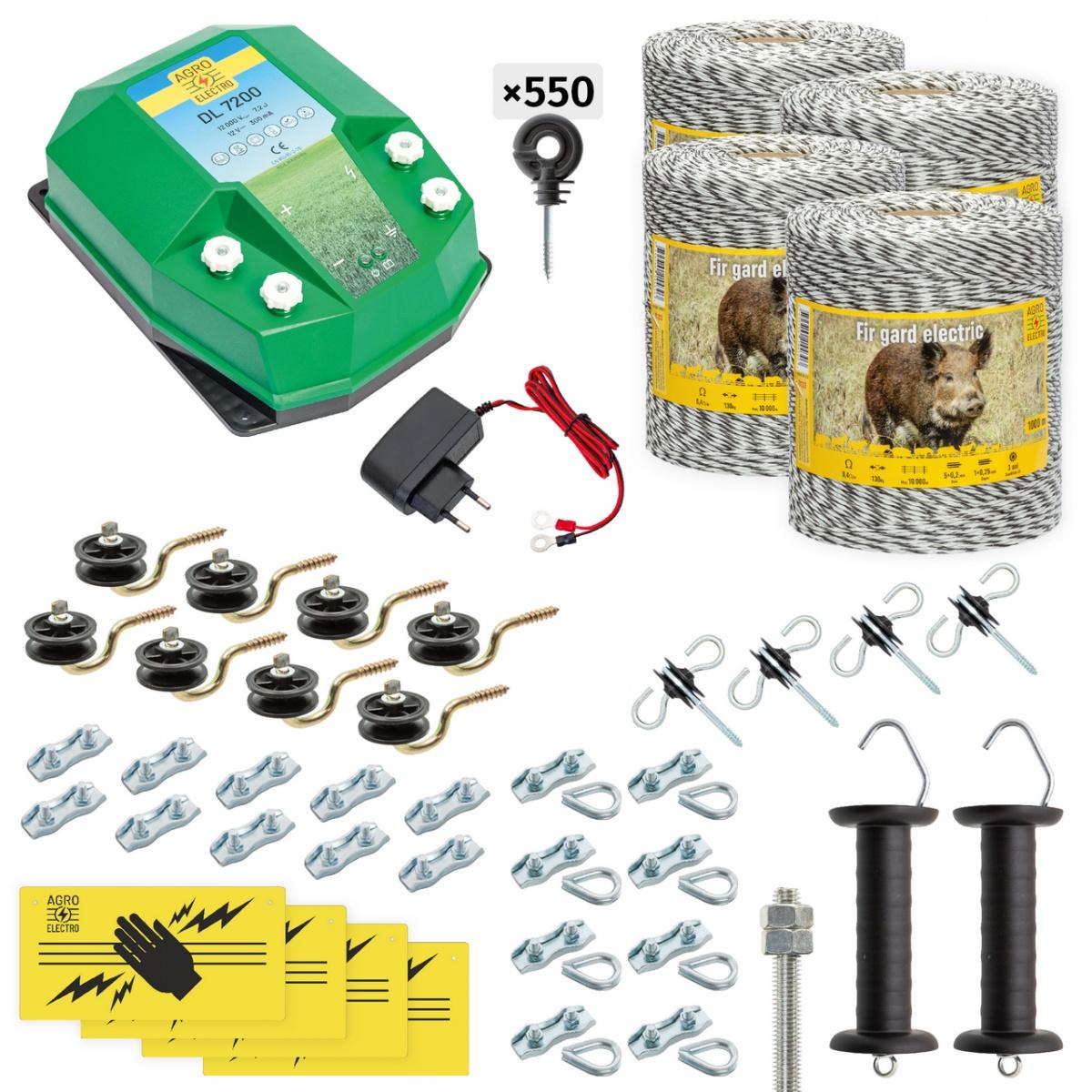 Pachet gard electric complet 4000m, 7,2Joule, 230V, pentru animale sălbatice