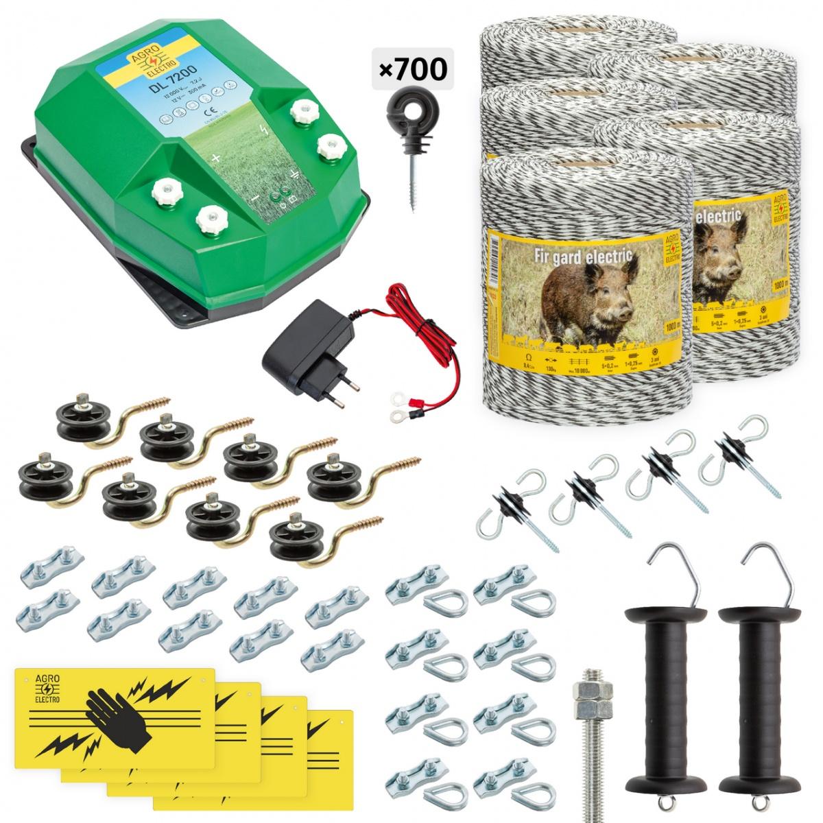 Pachet gard electric complet 5000m, 7,2Joule, 230V, pentru animale sălbatice