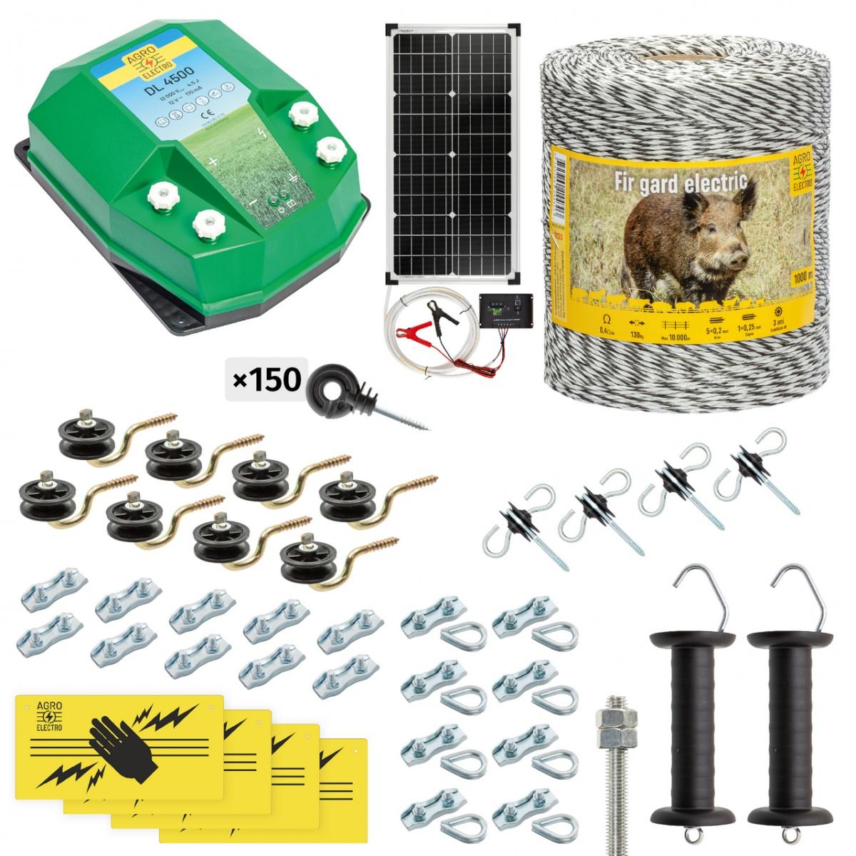 Pachet gard electric complet 1000m, 4,5Joule, cu sistem solar, pentru animale sălbatice