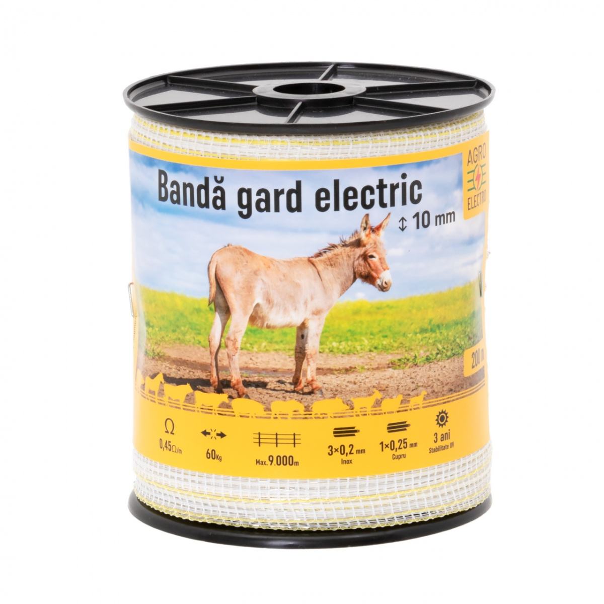 Bandă gard electric - 10 mm - 200 m - 60 kg - 0,45 Ω/m