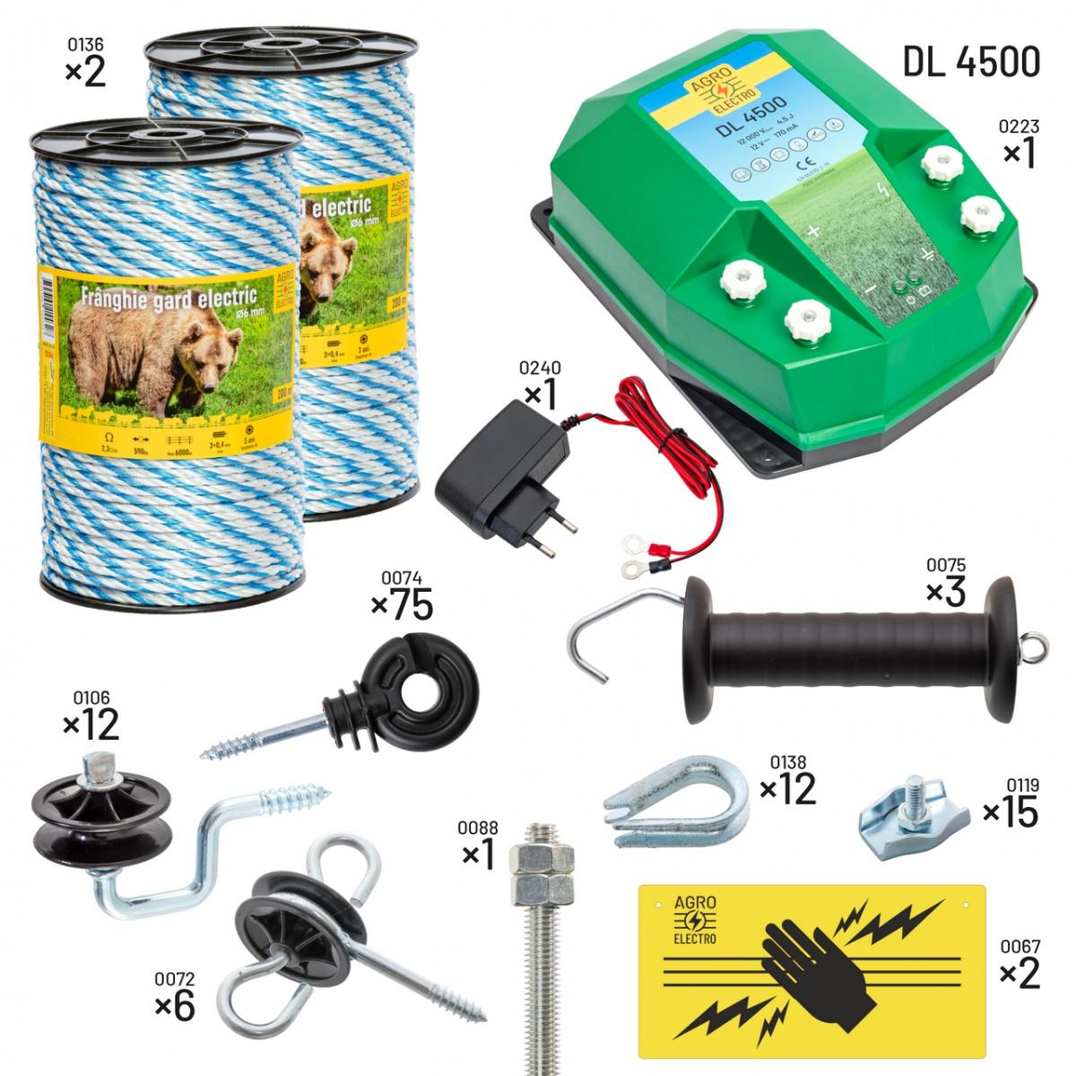 Pachet gard electric pentru apicultori. Cu DL4500, alimentare de la 230V