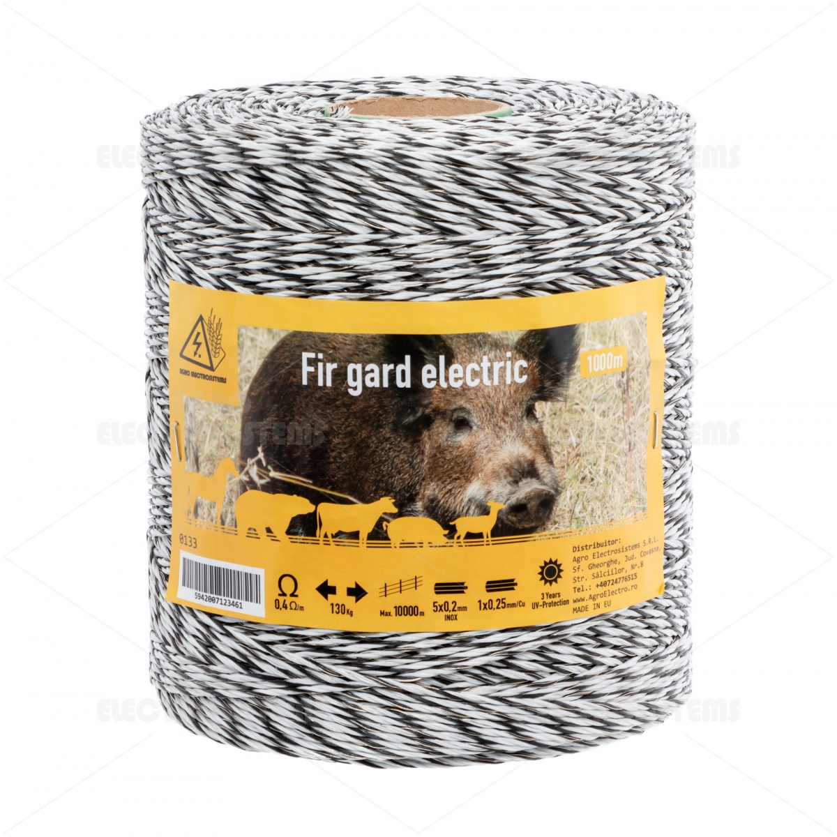 Pachet gard electric cu fir 1000m, pentru 6,25 sau 1,56 Ha