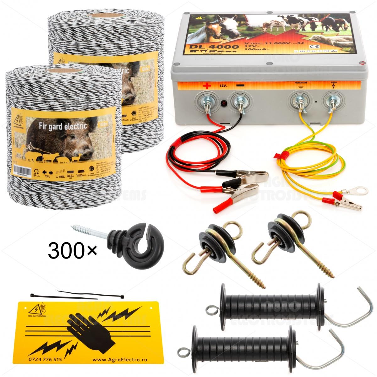 Pachet gard electric cu fir 2000m, pentru 25 sau 6,25 Ha