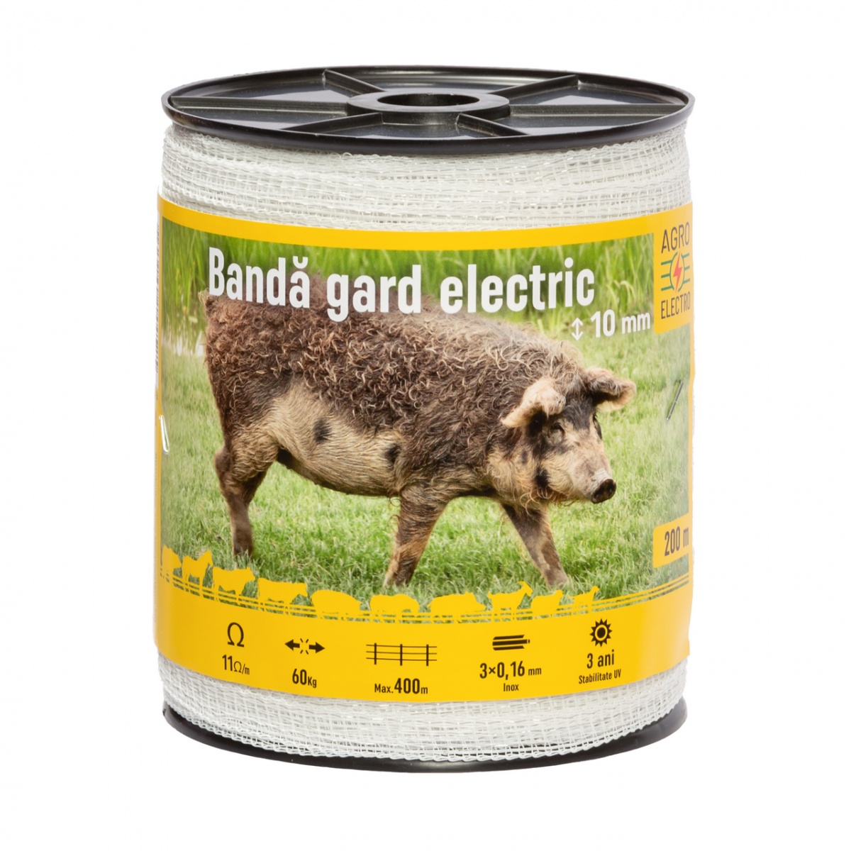 Bandă gard electric - 10 mm - 200 m - 60 kg - 11 Ω/m