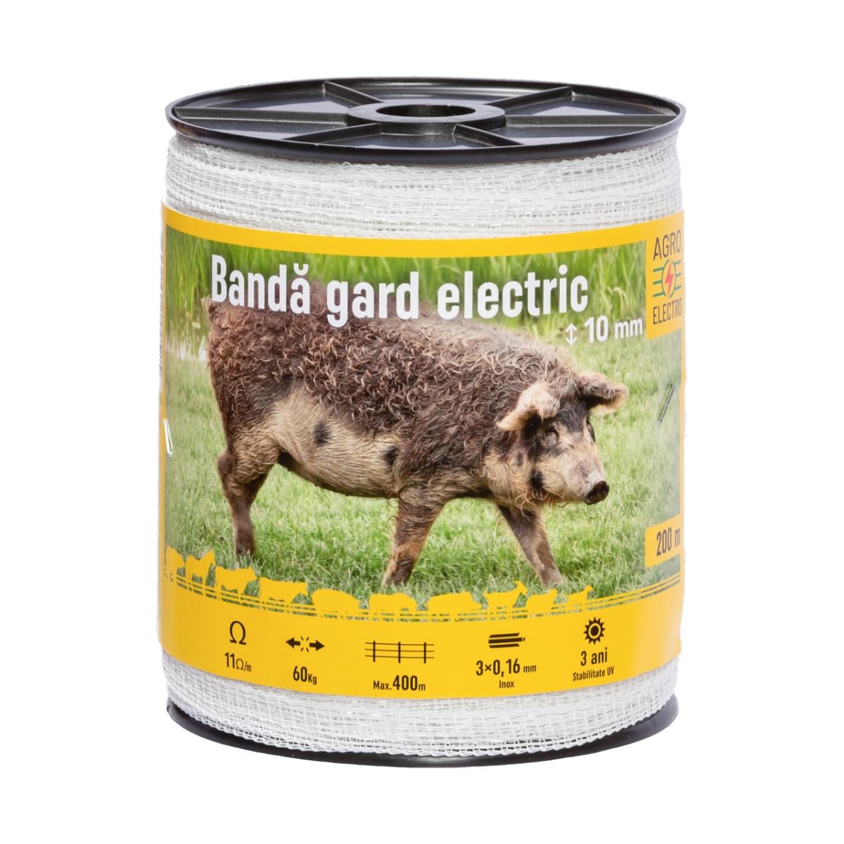 Bandă gard electric - 10 mm - 200m - 60kg - 11Ω/m